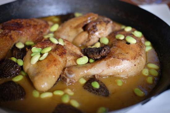 法式羊肚菌烩鸡腿佐蜜豆