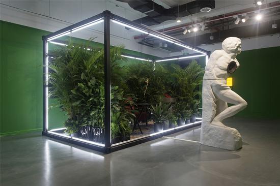 """作品名称:《书房》作者:许一/宋振熙 材质:植物,金属,沙发,桌子,台灯,石膏,喇叭,播放器,高跟鞋,输液袋,衬衫 尺寸:200*500*250cm 年代:2019 这是一间书房,更像一个安静的内心境场, 绿色生命的空间。 植物的灌养呈现一种生机的意向,空间向暖。 作者臆想了一个写作的空间,以书写构建一个安全的私属领地。如同温暖带来的滋养。 空间外的那个""""人"""",与之对峙。如同孤独给予的力量。 一个对话的过程,作者与自身,与外物,与环境,看似几封毫无联系的书信内容,实则充满生命万千变化的关联性。作者用手写信件和声音表达,来探讨生命的温度、色度和思维的维度。色彩在这个生命个体中,展现成为一种象征载体,让我们充满对个人力量与思欲的想象。"""