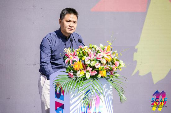 北京通州区委常委宣传部部长汤一原在开幕式上发表讲话