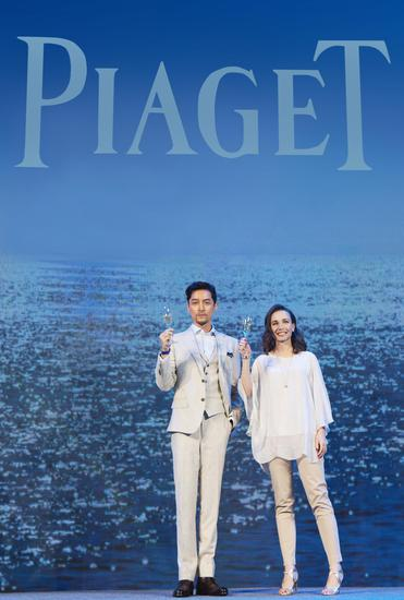 Piaget伯爵品牌大使胡歌与伯爵珠宝与高级珠宝市场总监Maria Laffont女士