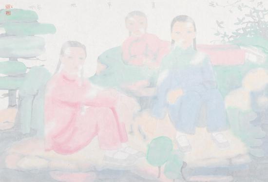 田黎明 阳光青草地 纸本 镜心 46×69cm