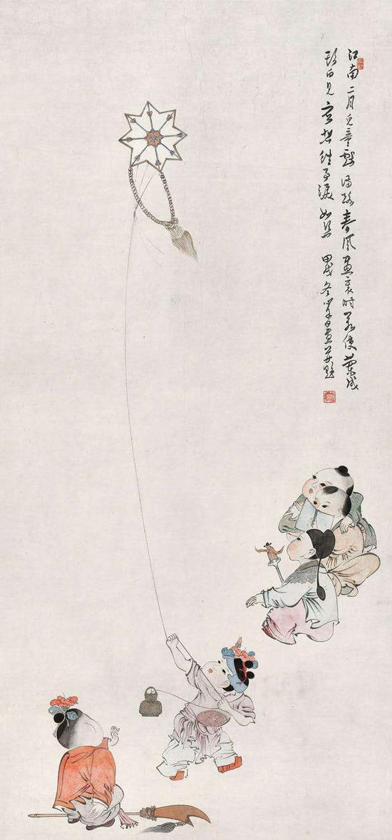 溥心畬(1896-1963) 江南二月儿童戏