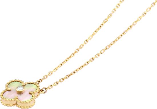 限量版Vintage Alhambra吊坠 黄K金、金色珍珠母贝、钻石