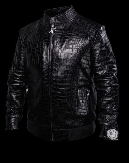 Karmaloog黑色鳄鱼皮防弹飞行员夹克与珠宝巨鳄陀飞轮腕表