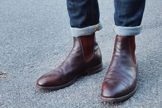 棕色系切尔西靴