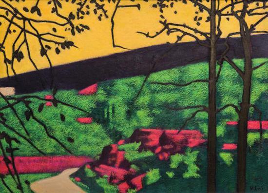 詹维克《黄色的天空》油画 110x80cm