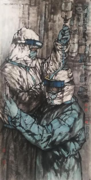 《武汉抗疫一线》68×168cm 2020年