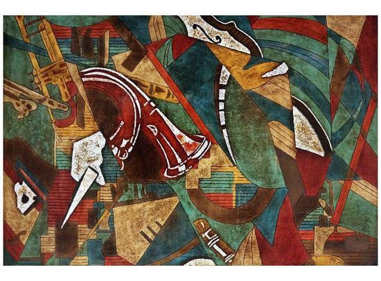 杨慧超,Sinfonia16,漆画,60×90cm