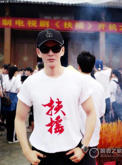黃宥明在《扶搖皇后》開機現場佩戴愛彼皇家橡樹離岸型系列潛水錶