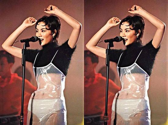 王菲穿透明pvc塑料裙