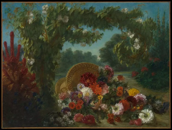 欧仁·德拉克洛瓦,《花篮》(Basket of Flowers, 1848-1849)