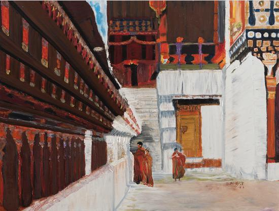 在工作的僧侣,布面油画,2019,600 x 800mm