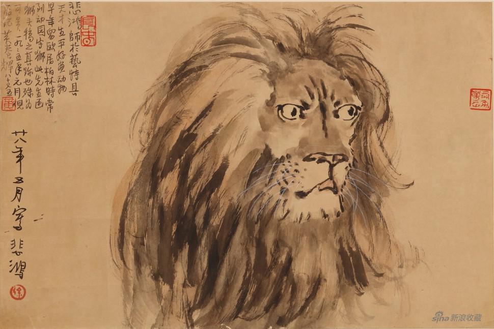 徐悲鸿(1895-1953)-雄狮图-纸本框-30×44cm - 副本