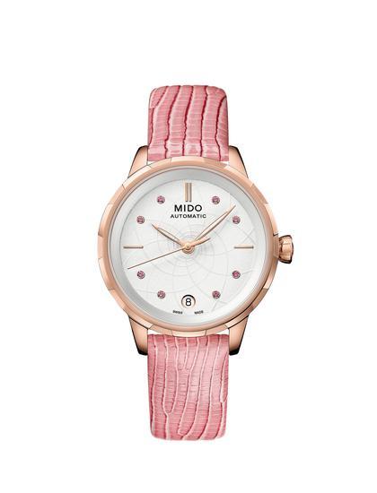 瑞士美度表RAINFLOWER花淅系列樱花粉款长动能珍珠贝母女士腕表