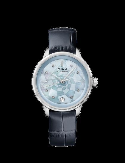 瑞士美度表RAINFLOWER花淅系列水湖蓝款长动能珍珠贝母女士腕表