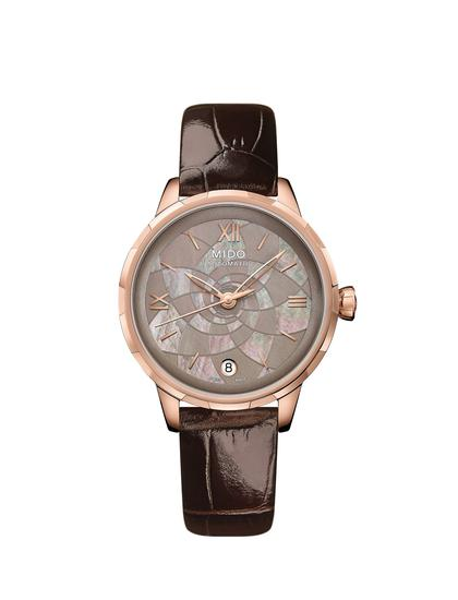瑞士美度表RAINFLOWER花淅系列焦糖棕款长动能珍珠贝母女士腕表