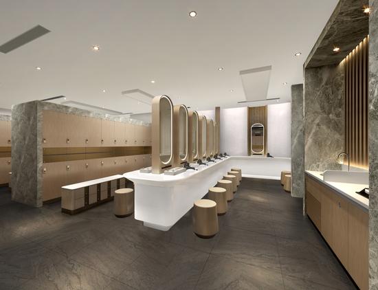 北京Pure Yoga瑜伽中心更衣室 (电脑模拟图)