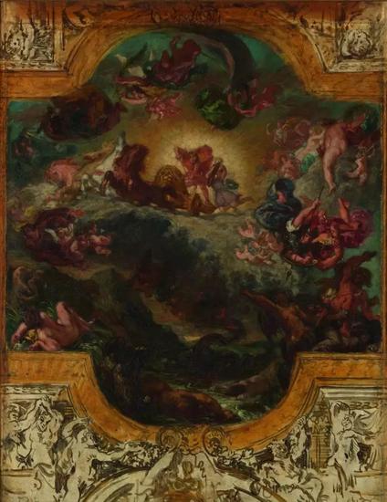 欧仁·德拉克洛瓦,《战胜巨蟒的阿波罗》(Apollo Victorious over Python,1850。为 Galerie d'Apollon天顶所作的草图