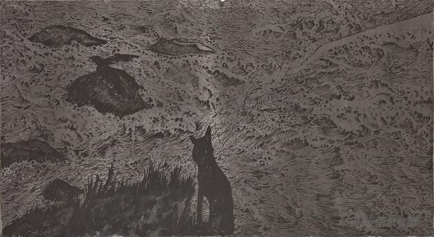 木兰溪NO.180716,110x200cm,纸本水墨、丙烯,2018