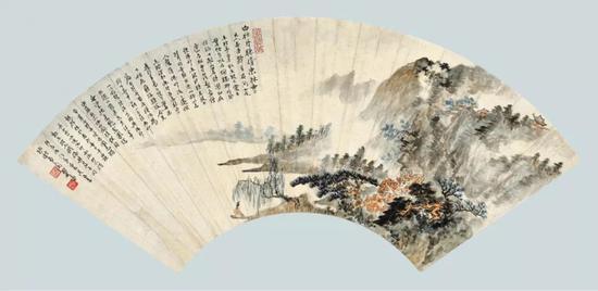 Lot 195 郑午昌 白牡丹赚婿东林寺   扇面镜心 设色纸本   尺寸:18×52.2 cm。 约0.85平尺
