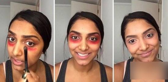 橘红色唇膏遮黑眼圈