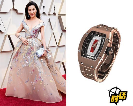 杨紫琼佩戴RICHARD MILLE RM07-01(玫瑰金镶钻链带款)出席奥斯卡颁奖典礼