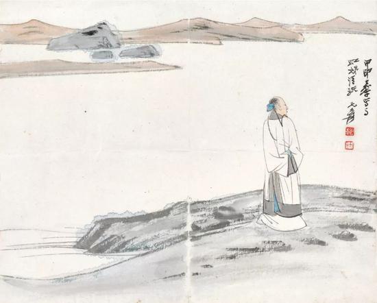* Lot 151   张大千 湖岸行吟   镜心 设色纸本   1945年作   尺寸:21.5×26.5 cm。 约0.51平尺