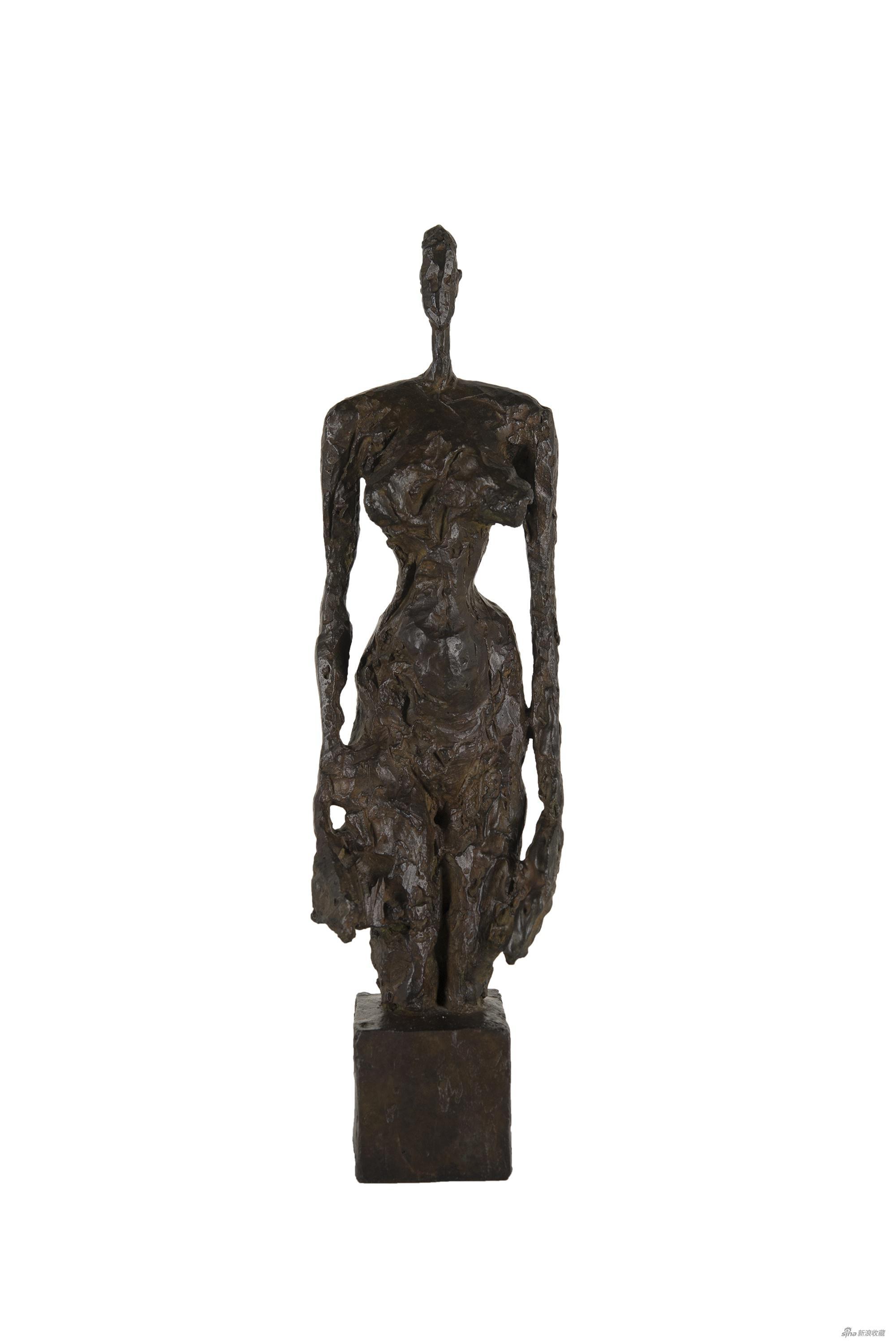 立方底座上站立的裸女阿尔贝托·贾科梅蒂青铜雕塑,42.6×10.8×10.5cm,1953年