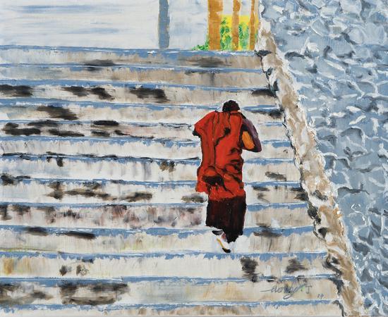石阶上的僧人,布面油画,2019, 500 x 600mm