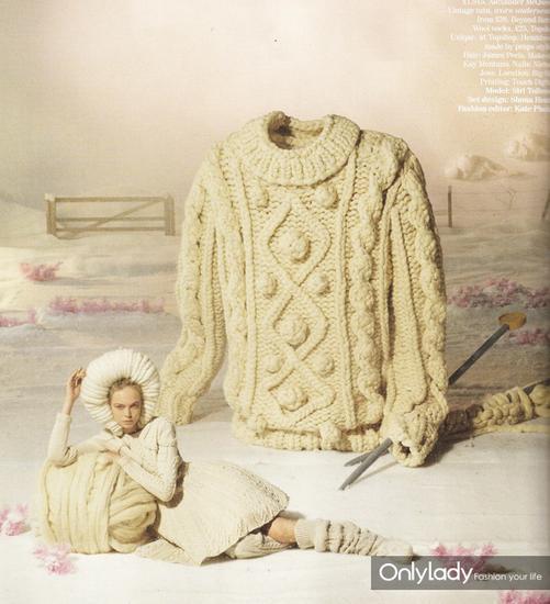 2015年12月Vogue英国版中,阿兰毛衣登上大片