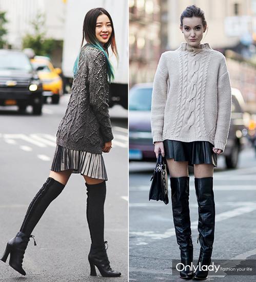 包臀的宽松版阿兰毛衣 迷你百褶裙 到大腿的长筒靴。