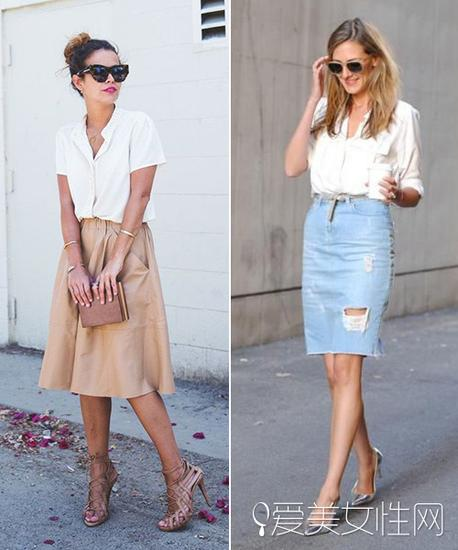 模特示范白衬衫搭配半裙穿法