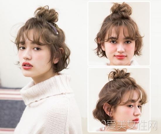 半丸子头扎法,一样很可爱的同时还带有俏皮的感觉,特别适合短发的妹子