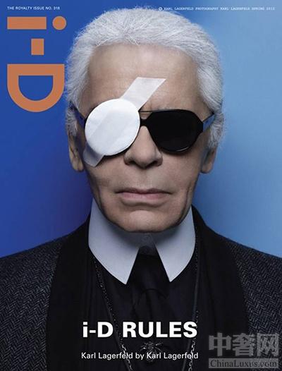 """2012年个性杂志i-D第318期封面,老佛爷更是自拍封面,扮演""""海盗""""造型霸气外露"""