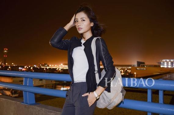 刘涛9月23日上海浦东机场街拍:准备前往2016春夏米兰时装周看秀