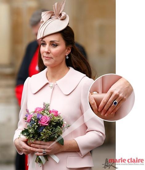凯特王妃佩戴的那枚属于已故的戴安娜王妃的蓝宝石戒指-简直美cry 斯