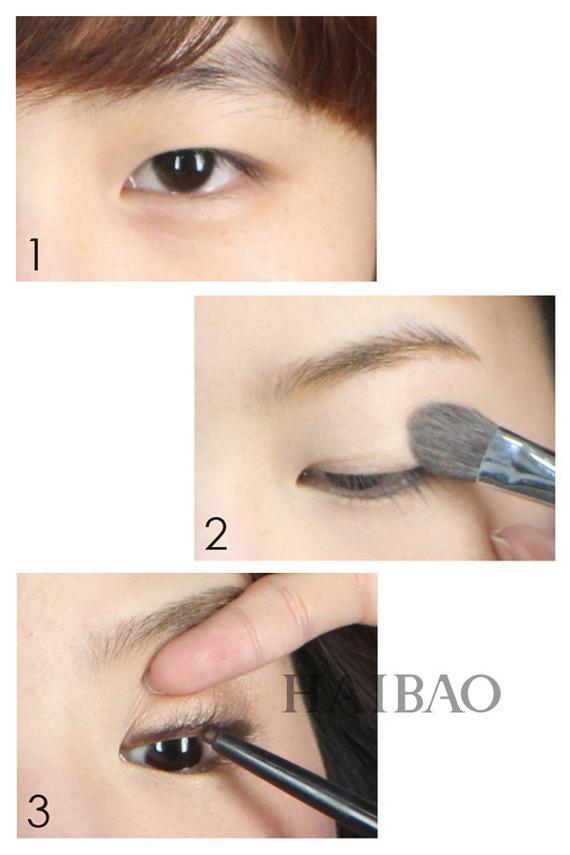 单眼皮女孩眼妆打造步骤