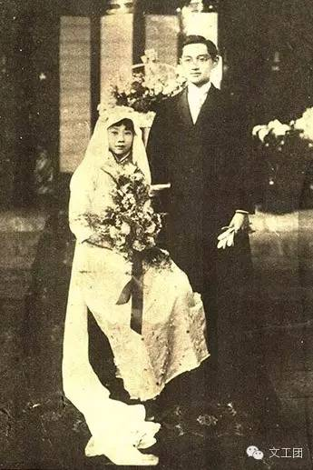 朱三小姐与严南璋的结婚照
