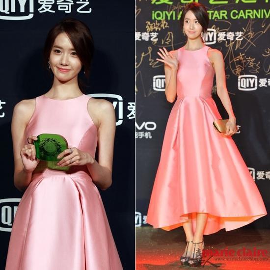 红毯上的粉色伞裙