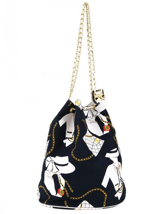 CHANEL VINTAGE Jumbo printed bucket shoulder bag $3,884
