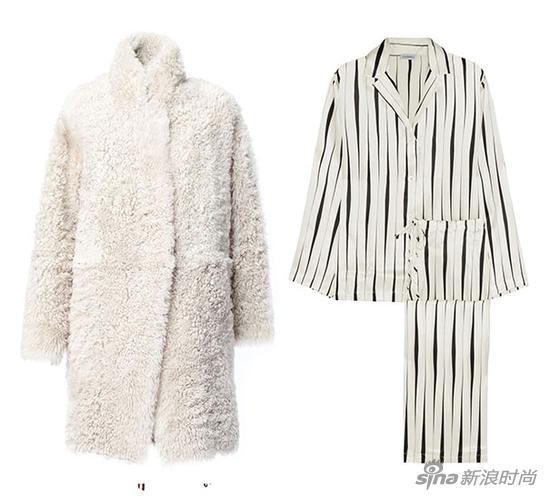32 Paradis Sprung Frères 毛絨大衣;La Perla 條紋絲緞睡衣套裝