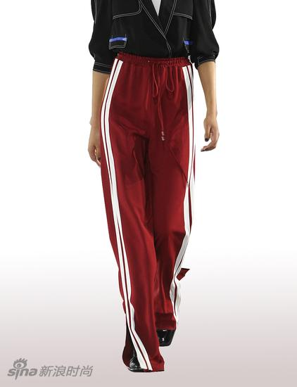 PEACRBIRD-紅色條紋闊腿褲
