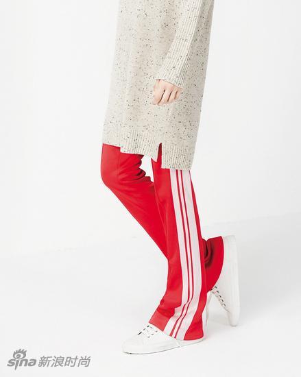 Mo&Co.側條紋闊腿褲