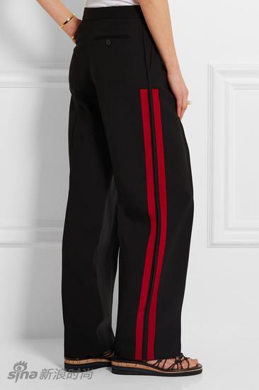 Alexander McQueen 羊毛真絲混紡華達呢闊腿褲
