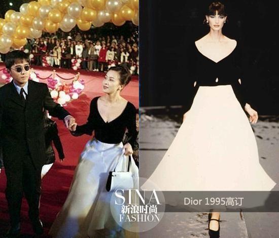 1995年,刘嘉玲身穿Dior高级订制礼服出席金马奖