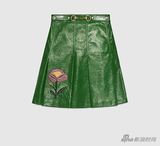 Gucci-绿色皮革高腰A字裙