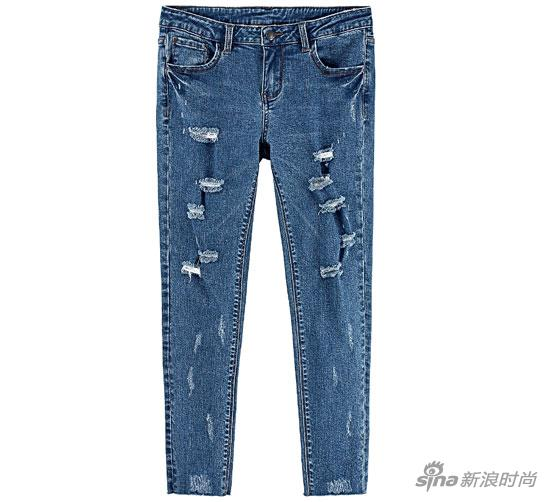 PEACEBIRD-破洞牛仔裤