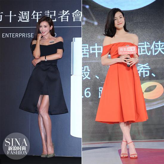 林志玲和陈妍希穿露肩礼服亮相