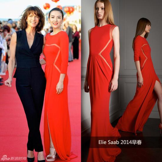 章子怡穿Elie Saab红裙