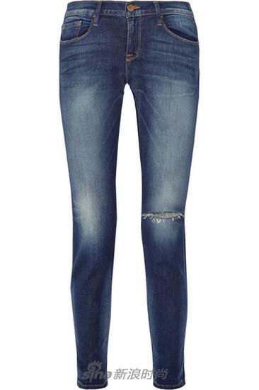 Frame Denim仿旧中腰修身男友式牛仔裤